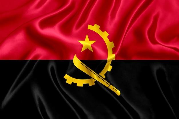 アンゴラの国旗のシルクのクローズアップ