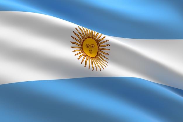 Флаг аргентины 3d иллюстрация развевающегося аргентинского флага