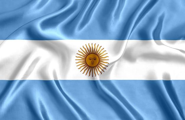 Флаг аргентины шелк крупным планом