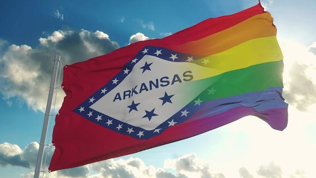アーカンソー州とlgbtの旗