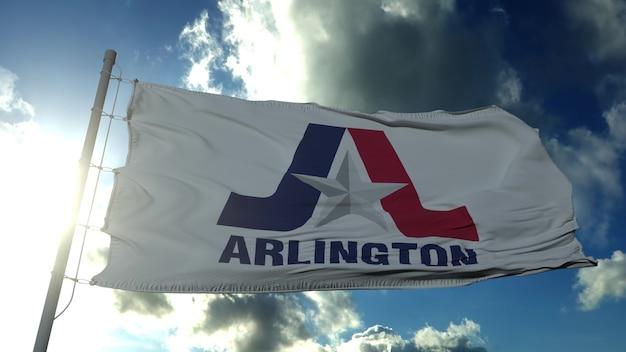 アーリントンの旗、テキサス州、アメリカ合衆国。 3dレンダリング