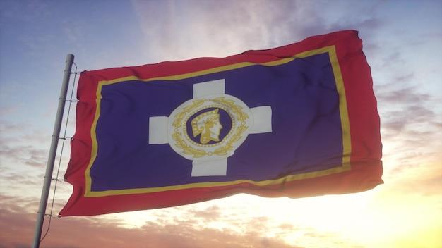 Флаг афин, столицы греции, развевающийся на фоне ветра, неба и солнца. 3d-рендеринг.