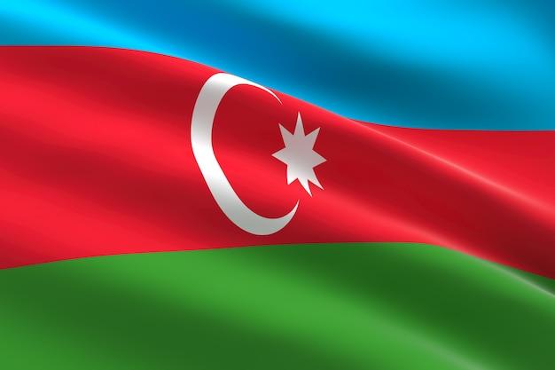 Флаг азербайджана 3d иллюстрация развевающегося азербайджанского флага
