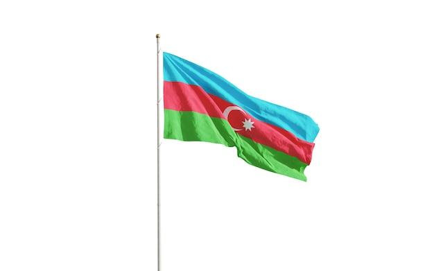 白で隔離されるアゼルバイジャンの旗