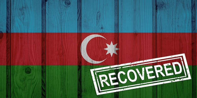 Флаг азербайджана, который выжил или оправился от инфекций, вызванных эпидемией коронавируса или коронавируса. флаг гранж с печатью восстановлено