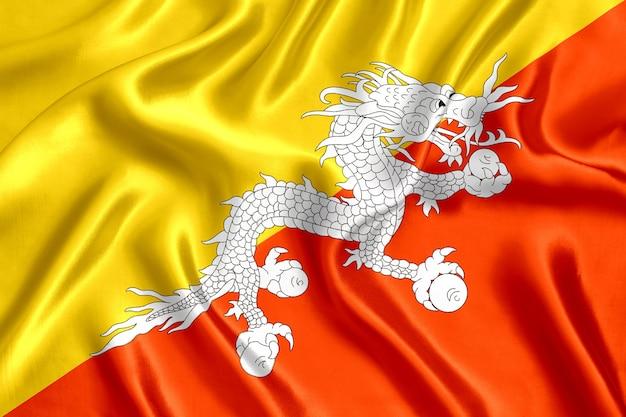부탄 실크 근접 배경의 국기