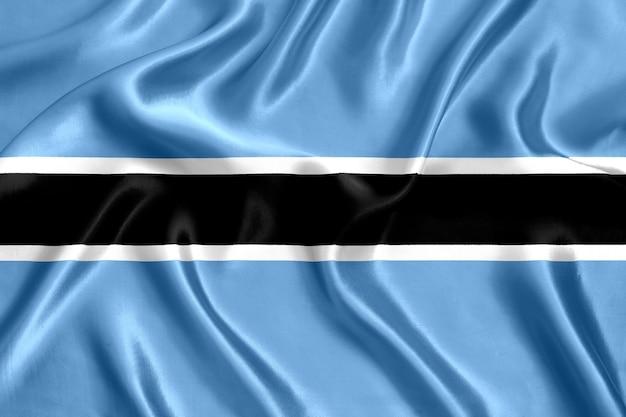 보츠와나 실크 근접 배경의 국기