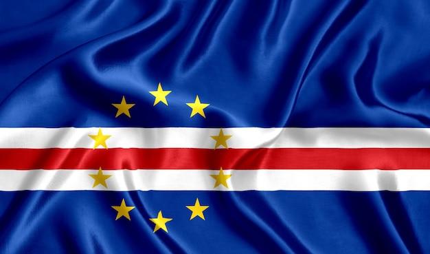 Флаг кабо-верде шелк крупным планом фон