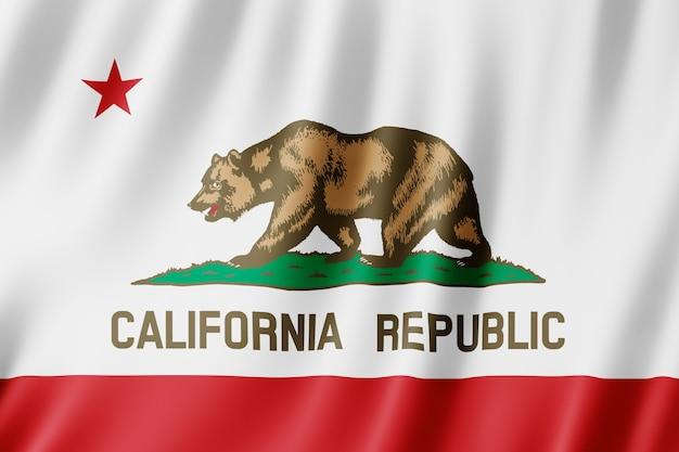 カリフォルニア州の旗、米国の州。波打つカリフォルニアの旗の3dイラストレーション。