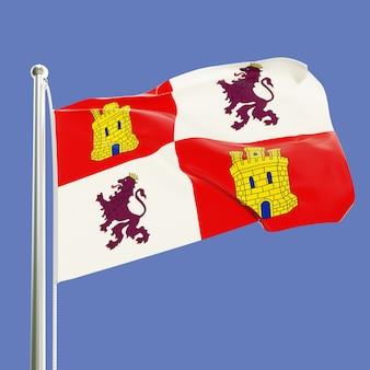カスティーリャ・イ・レオンの旗、青空の背景に分離された風に手を振る旗竿にスペイン