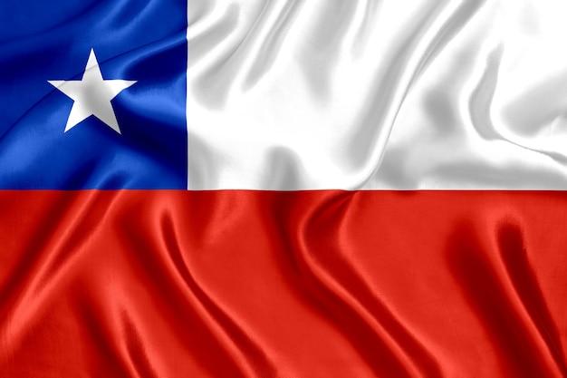 チリの国旗のシルクのクローズアップの背景