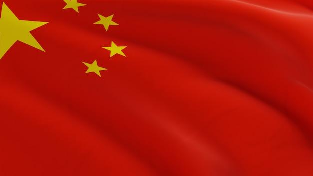 風になびかせて中国の旗、品質の3 dレンダリングでファブリックのマイクロテクスチャ