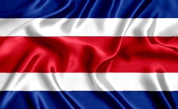 コスタリカの国旗のシルクのクローズアップの背景