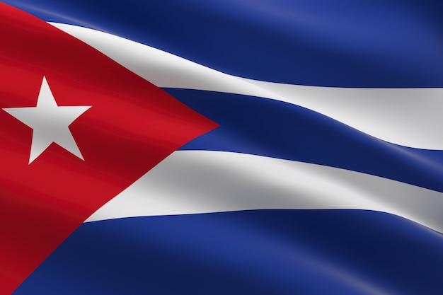 쿠바의 국기. 쿠바 깃발을 흔들며의 3d 일러스트