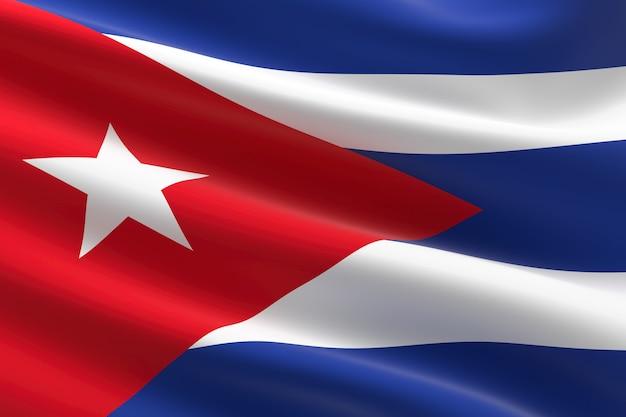 쿠바의 국기입니다. 물결치는 쿠바 국기의 3d 그림입니다.