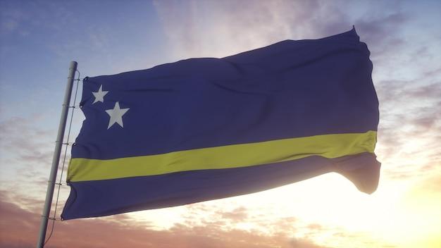 風、空、太陽の背景に手を振るキュラソーの旗。 3dレンダリング。