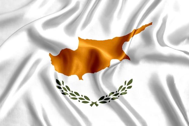 Флаг кипра шелк крупным планом фон