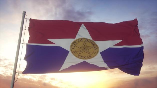 ダラスの旗、風、空、太陽の背景に手を振っているテキサスの街。 3dレンダリング