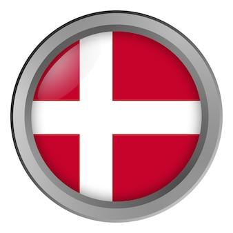 Флаг дании круглый в виде кнопки