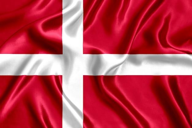 Флаг дании шелк крупным планом фон