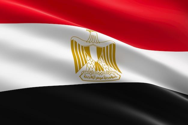 Флаг египта. 3d иллюстрации развевающийся египетский флаг