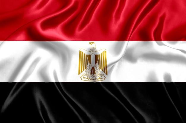 Флаг египта шелк крупным планом фон