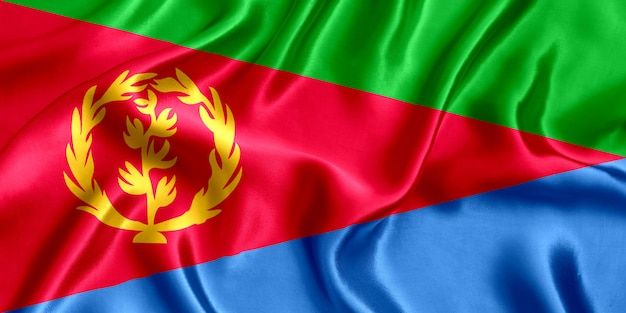 エリトリアの国旗のシルクのクローズアップの背景