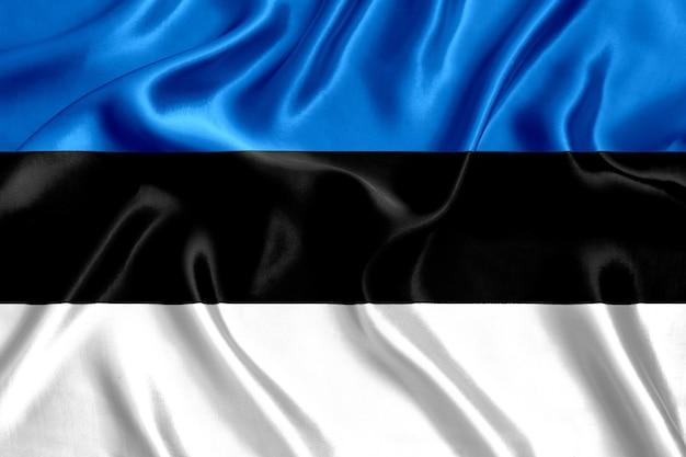 Флаг эстонии шелк крупным планом фон