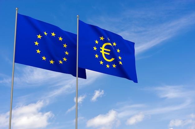 유로 기호와 함께 유럽 연합의 국기입니다. 3d 렌더링