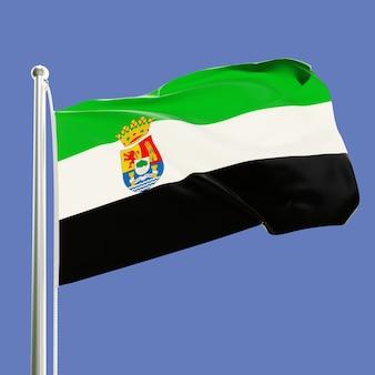 푸른 하늘 배경에 고립 된 바람에 물결 치는 깃대에 extremadura 스페인의 국기