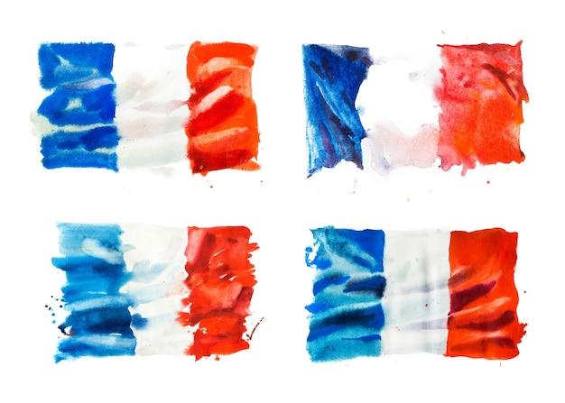 フランスの旗、手描きの水彩イラスト。
