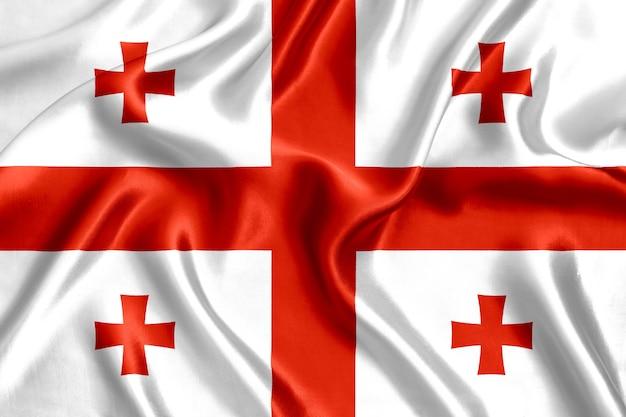 ジョージア州の旗シルクのクローズアップの背景