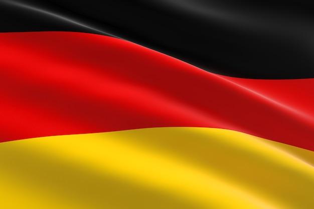 독일의 국기. 독일 깃발을 흔들며의 3d 일러스트
