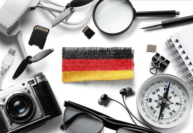 흰색, 위쪽 보기에 독일 및 여행 액세서리의 국기