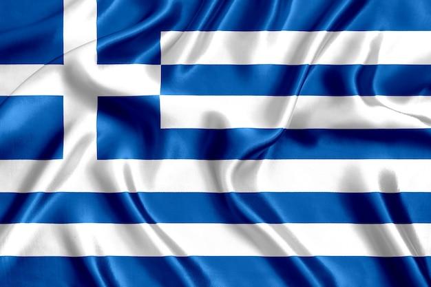 ギリシャの旗シルクのクローズアップの背景