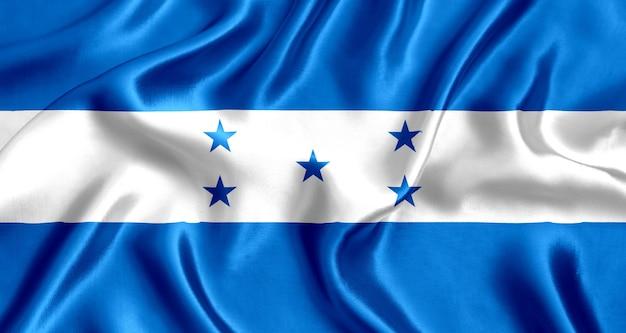 온두라스 실크 근접 배경의 국기