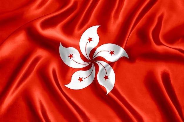 香港の旗のシルクのクローズアップの背景