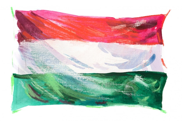 水彩で描かれたハンガリーの旗