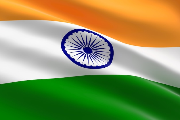 インドの旗。手を振っているインドの旗の3dイラスト