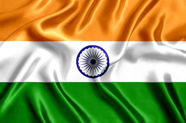 インドの旗のシルクのクローズアップの背景