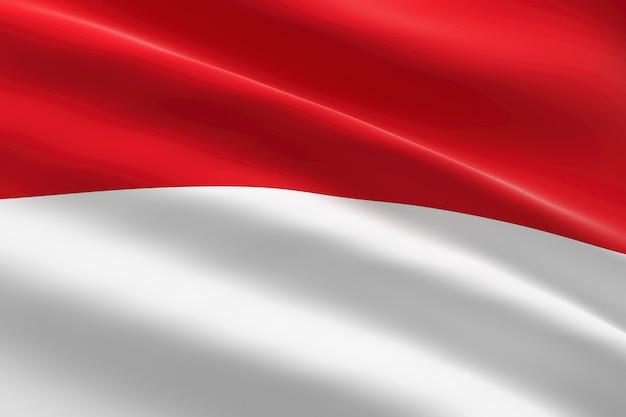 インドネシアの旗。手を振っているインドネシアの旗の3dイラスト