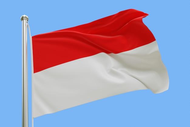 Флаг индонезии на флагштоке развевался на ветру, изолированных на синем фоне