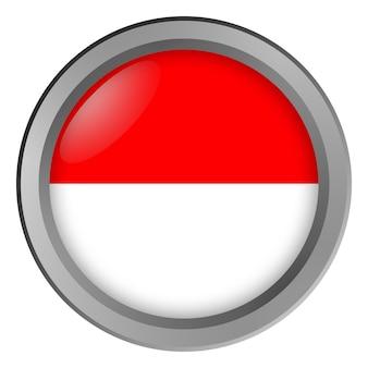 버튼으로 둥근 인도네시아의 국기