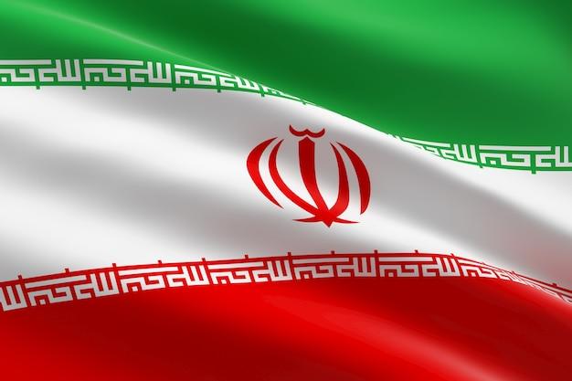 Флаг ирана. 3d иллюстрации развевающийся иранский флаг