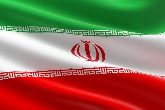 이란의 국기입니다. 이란 국기를 흔들며의 3d 그림입니다.