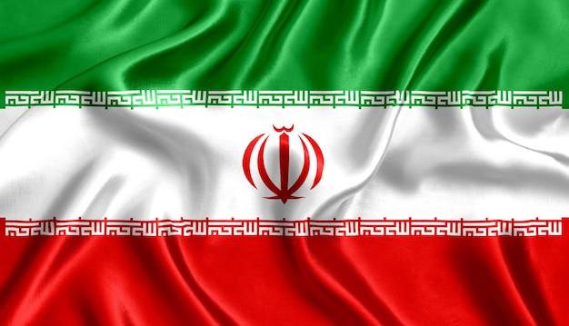 イランの国旗のシルクのクローズアップの背景