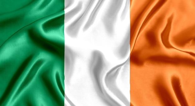 아일랜드 실크 근접 배경의 국기