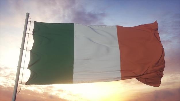 風に手を振っているアイルランドの旗。アイルランド共和国のシンボル。 3dレンダリング
