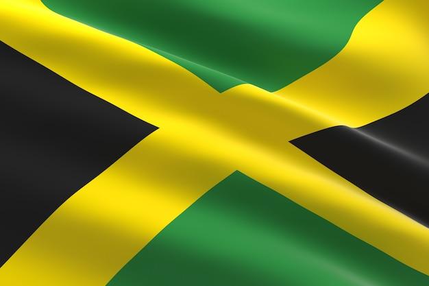 ジャマイカの旗。手を振っているジャマイカの旗の3dイラスト