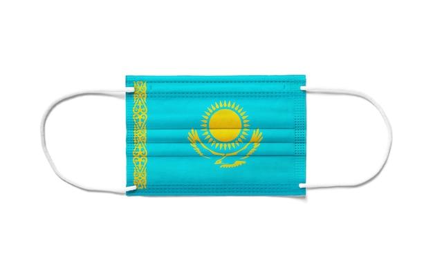 Флаг казахстана на одноразовой хирургической маске.